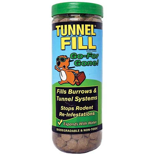 expanding tunnel fill for groundhog and gopher burrows and tunnels